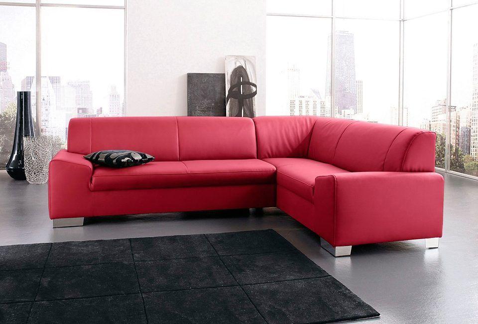 Ecksofa rot, Langer Schenkel links, mit Schlaffunktion, FSC - wohnzimmer rot grau beige