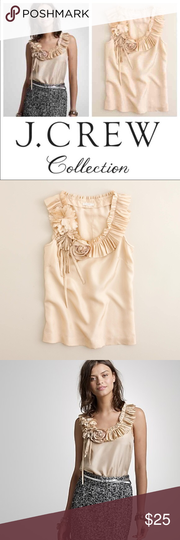 6129e187f006 J.CREW SILK PLEATED POSY TOP PRODUCT DETAILS New with tags, never worn.