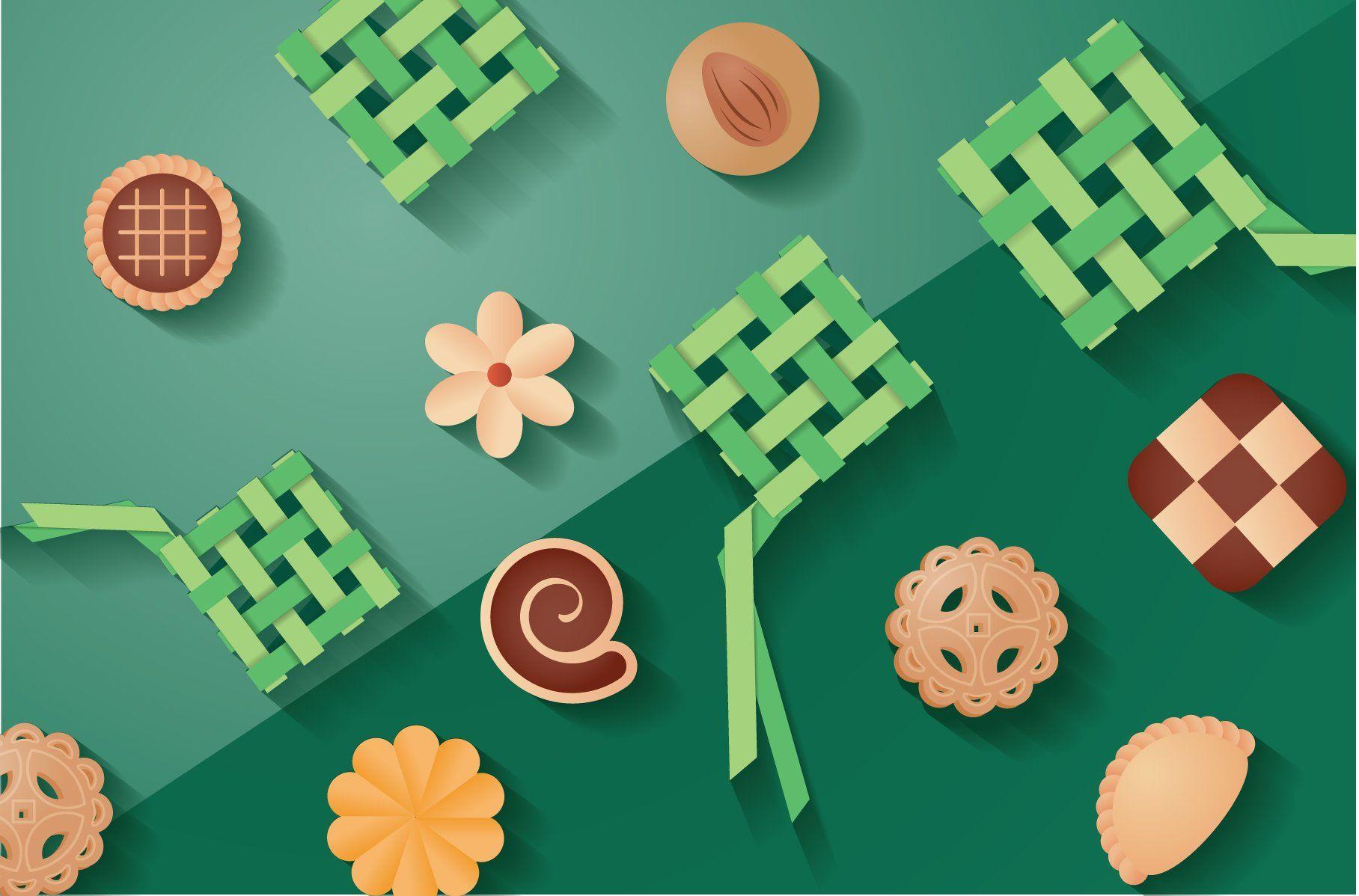 Hari Raya Ketupat Cookies Vector Cookie Vector Vector Illustration