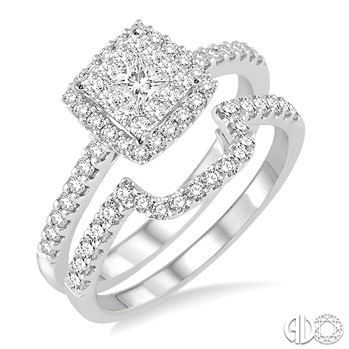 1 1/10 Ctw Square Shape Diamond Lovebright Wedding Set with 3/4 Ctw Engagement Ring and 1/3 Ctw Wedding Band in 14K White Gold