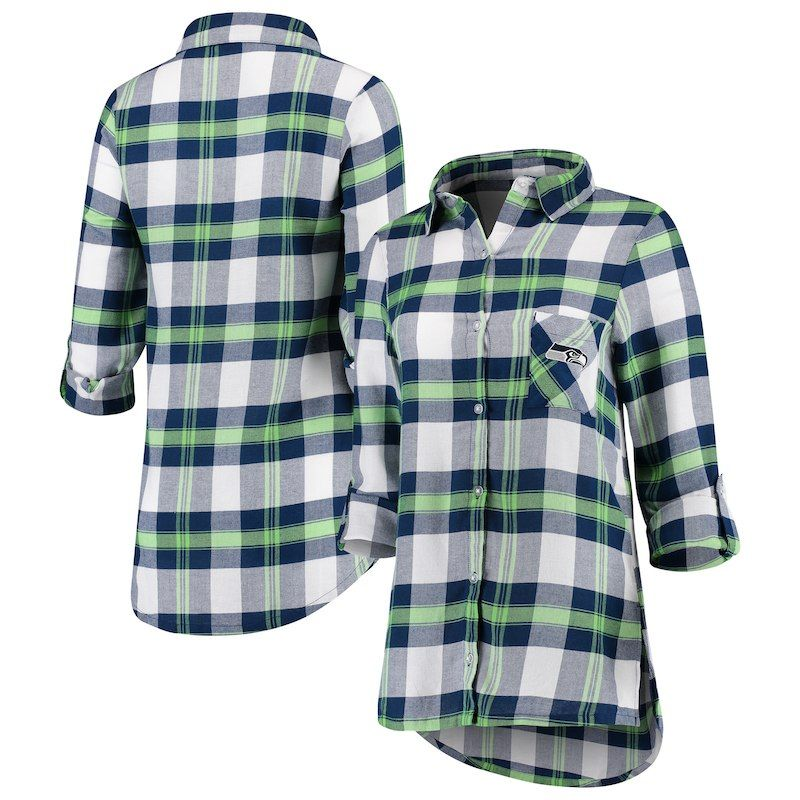 906931c77 Seattle Seahawks Concepts Sport Women s Headway Long Sleeve Button-Up Shirt  – College Navy Neon Green