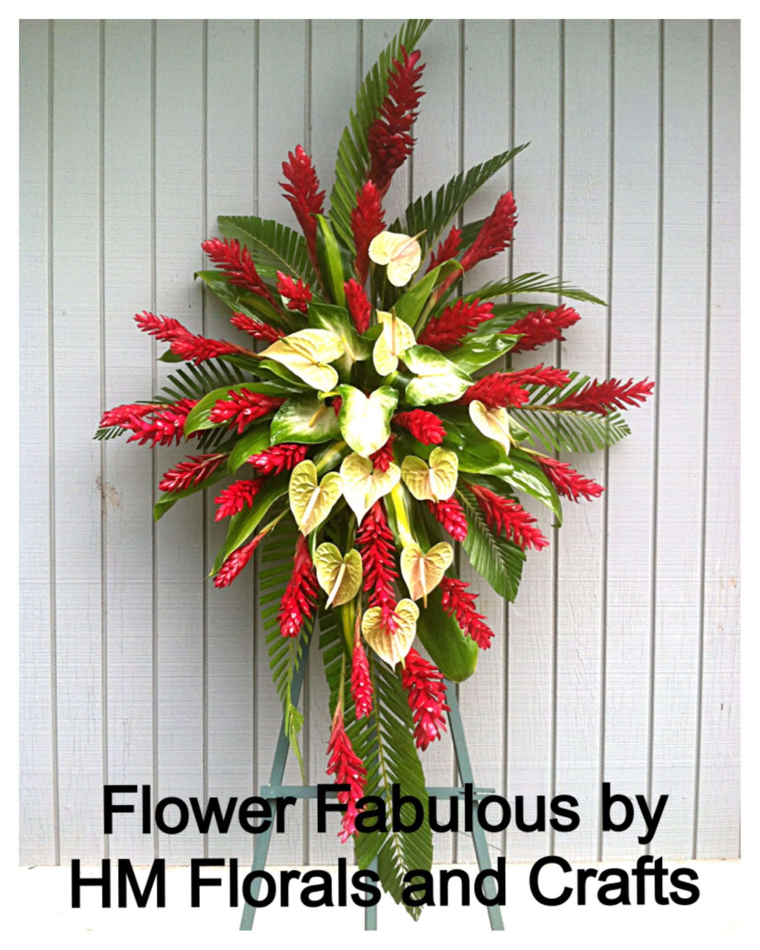 Anthuriums And Red Gingers Very Hawaiian Indeed Tropical Floral Arrangements Church Flower Arrangements Tropical Flower Arrangements