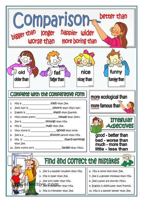 BASIC COMPARISON | ESL 2 | English grammar, Teaching english grammar