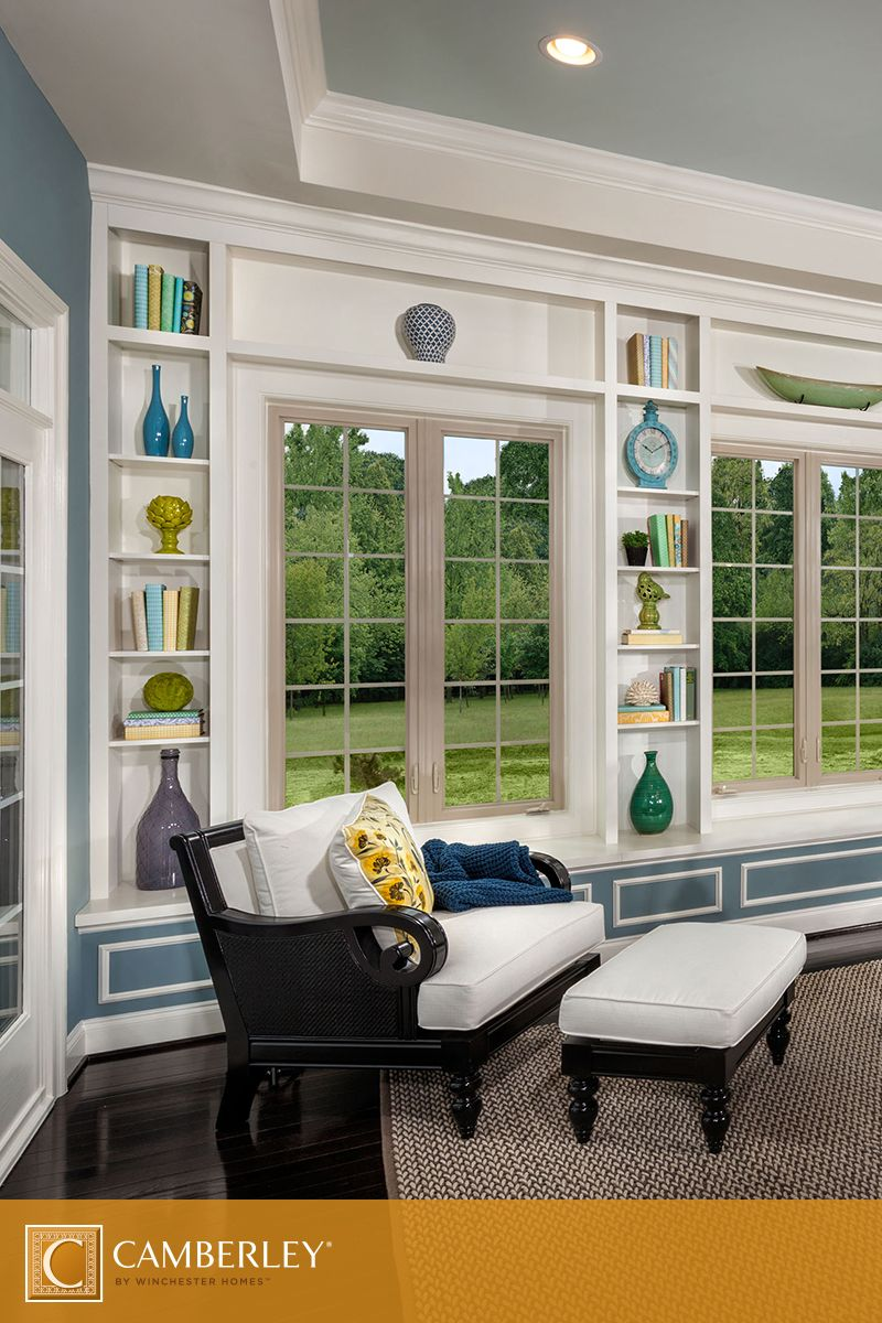 The Built In Shelves That Surround Large Casement Windows In The Langley II  Modelu0027s Sunroom