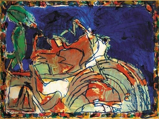 Artwork by Pierre Alechinsky, Lopin Individuel, Made of acrylics on paper laid down on canvas