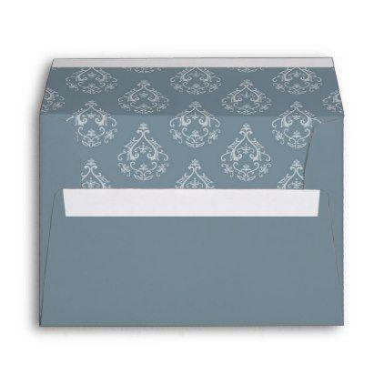 Dusty Blue Damask Pattern Envelope  Dusty Blue Return Address
