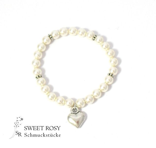Brautschmuck armband perlen Brautschmuck - Armband Braut ivory Hochzeitsschmuck Perlen Herz ...