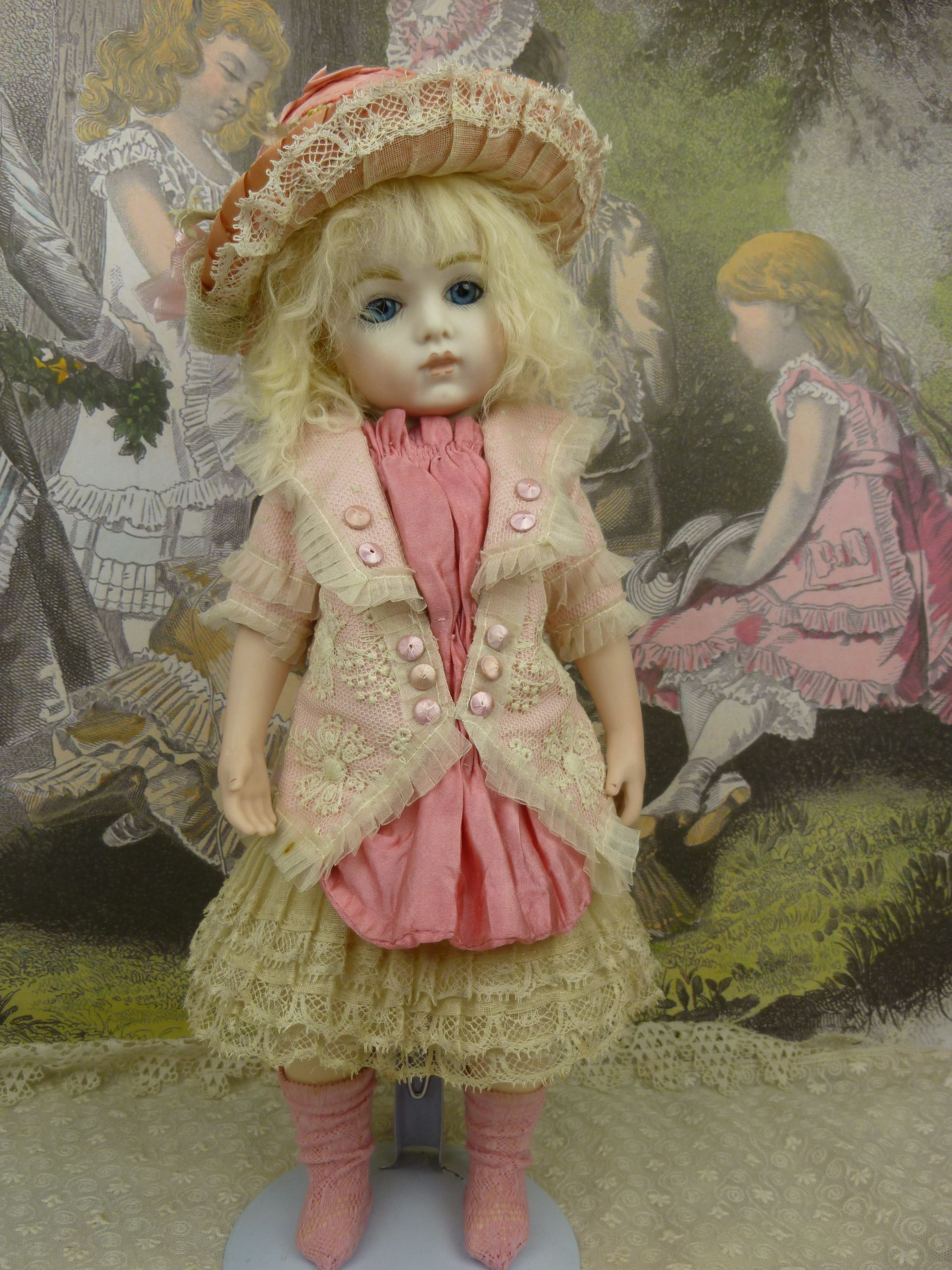 334bc98c1e75 French couturier pink silk, satin and patterned gauze antique dolls dress  with matching pink straw hat and pink open weave socks. A complete ensemble  !!!