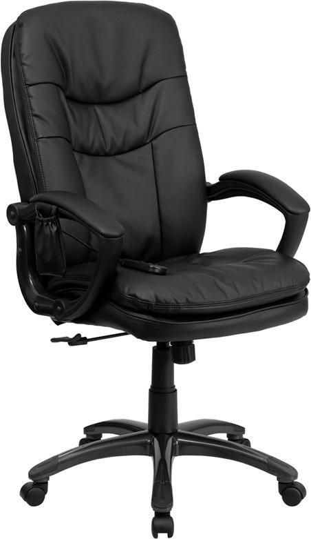 mid back massaging black leather executive office chair executive