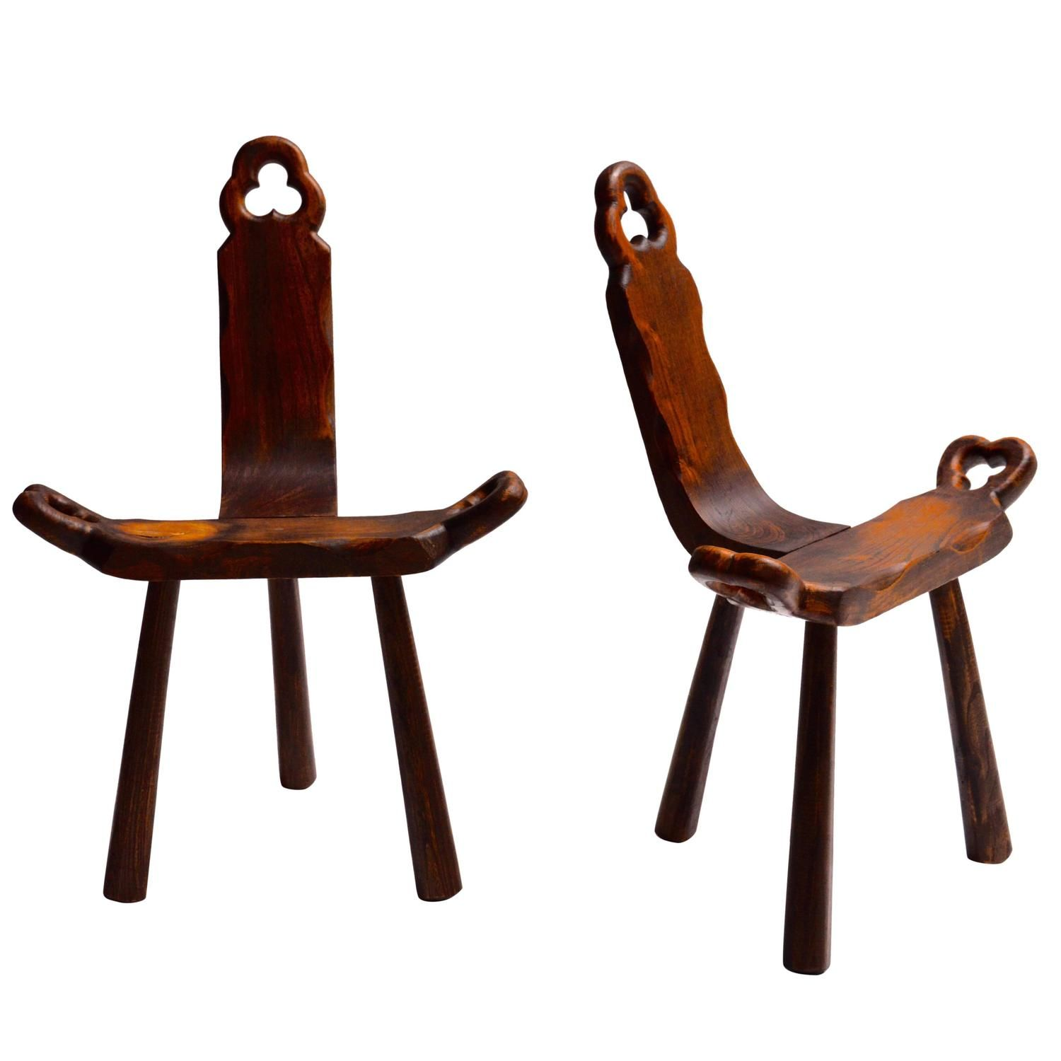 Pair Of Wood Birthing Chairs - From A Unique Collection