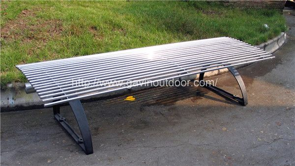 Cast Iron And Stainless Steel Backless Park Bench Furniture
