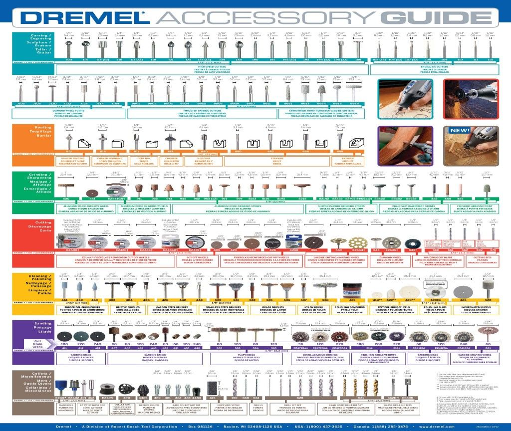 Dremel chart | build it | Dremel accessories, Dremel tool ...