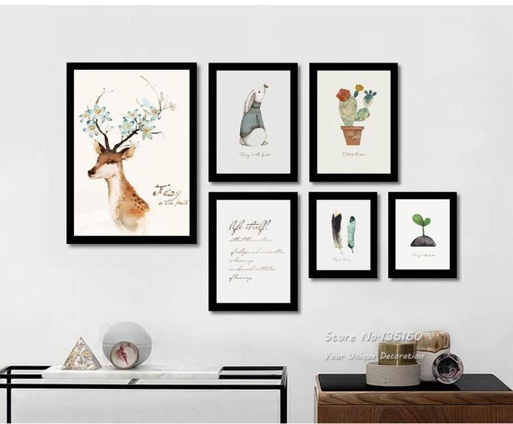 Home Decor Wall Picture Canvas Painting Modern Minimalist Style Animals Poem Large Art Prints Poster For