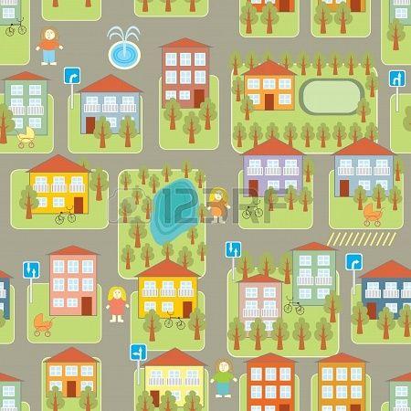 Colorido Mapa De La Ciudad De Dibujos Animados Mapa Ciudad Illustration Ciudad Dibujo