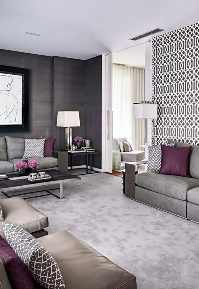 tapeten ideen wohnzimmer akzentwand elegante wohnzimmermöbel lila - küche farben ideen