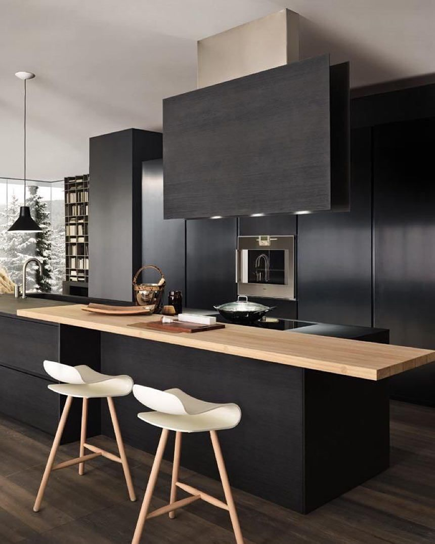 Large window kitchen designs  black kitchen i floor to ceiling cupboards i white bar stools i