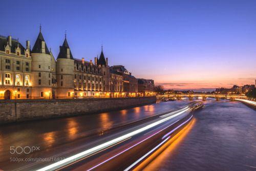 The Seine River and Pont Neuf bridge by markusschilder  night France Paris Pont Neuf Seine Conciergerie La Capitale markusschilder