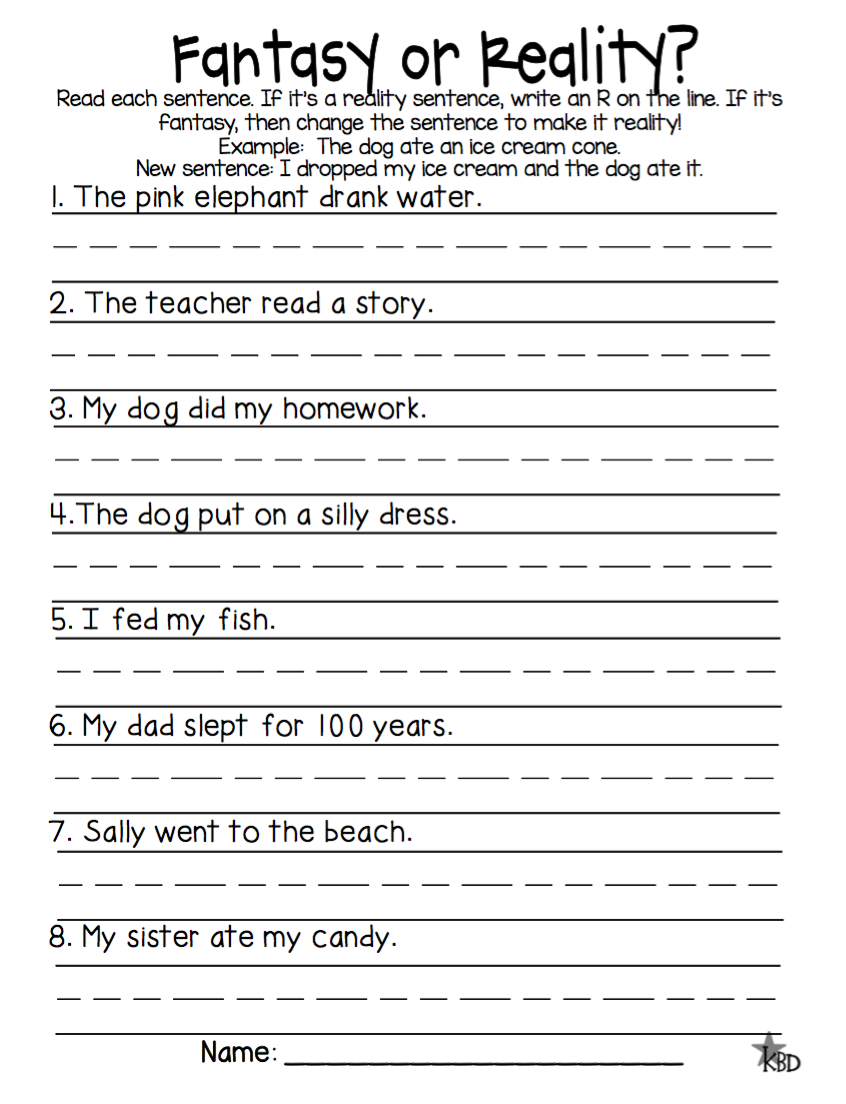 Image result for reality and fantasy activities for first grade   English  lessons for kids [ 1104 x 846 Pixel ]