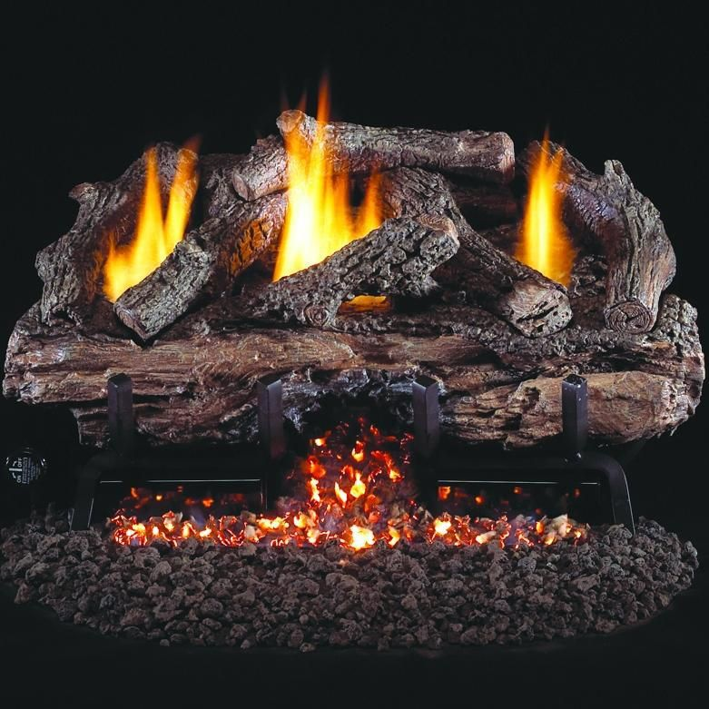 Peterson Real Fyre 24 Charred Aged Split Oak Gas Log Set With Vent Free Natural Gas Ansi Certified G10 Burner Ventless Gas Logs Gas Logs Fireplace Accessories