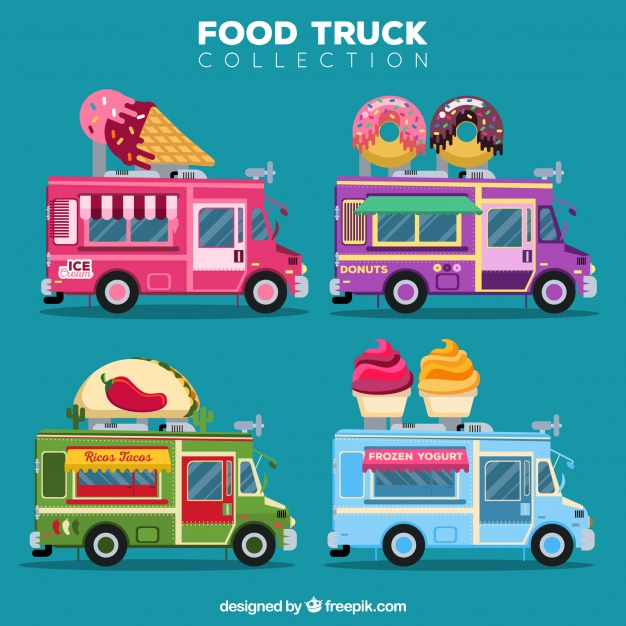 Download Cute Pack Of Colorful Food Trucks For Free Food Truck Food Coloring Food Truck Design