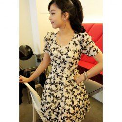 $9.40 Puff Cuff Sleeves Floral Print Scoop Neck Sweet Style Chiffon Dress For Women