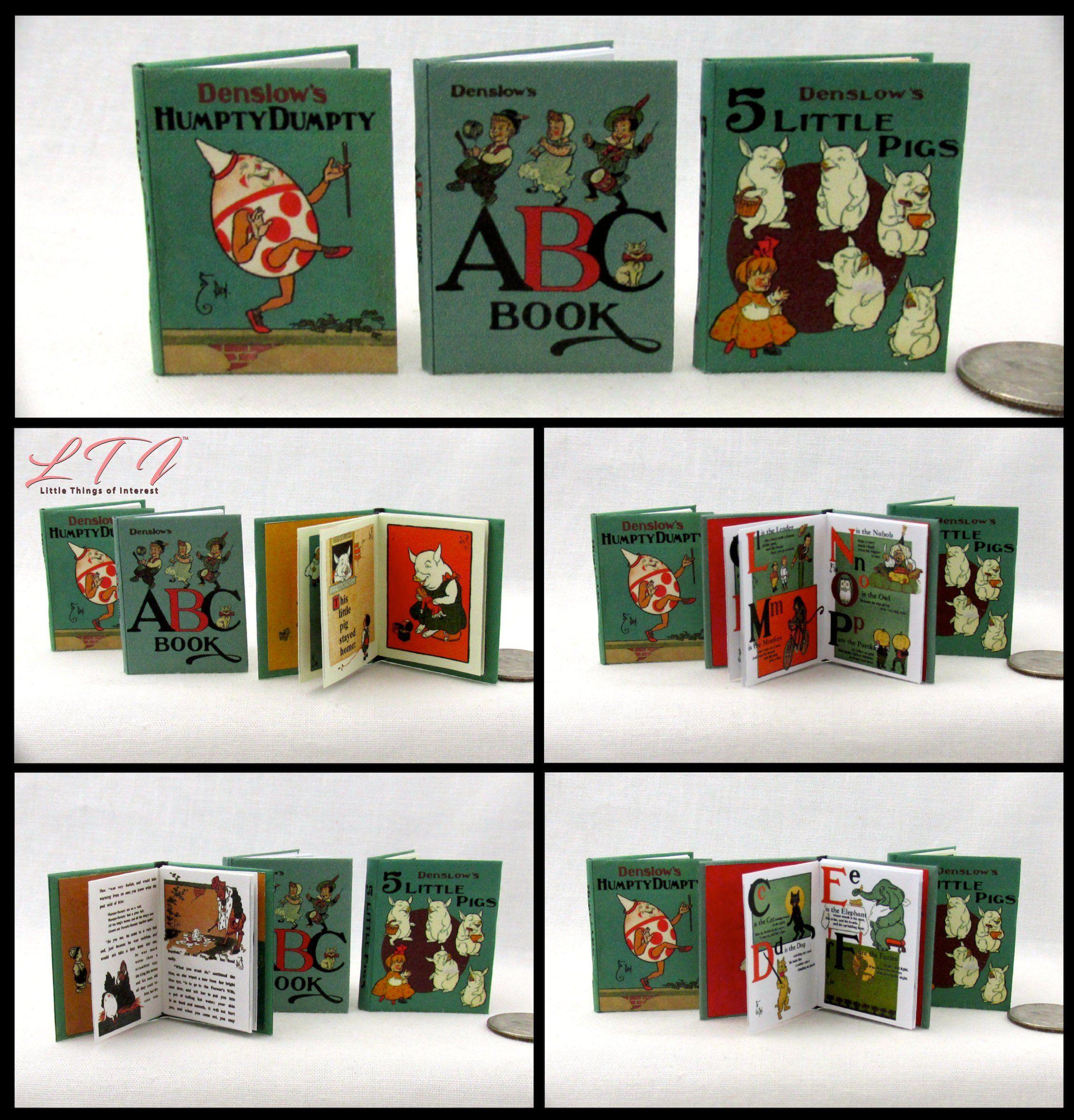HUMPTY DUMPTY ABC/'S 5 LITTLE PIGS Miniature Dollhouse 1:12 Scale Books