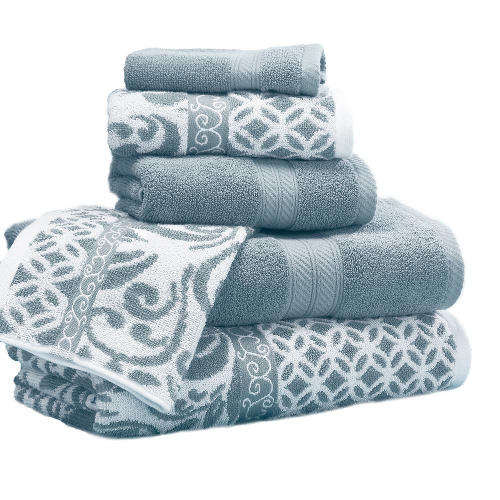 Modern Threads Trefoil 6 Piece Sterling Blue Geometric Bath Towel