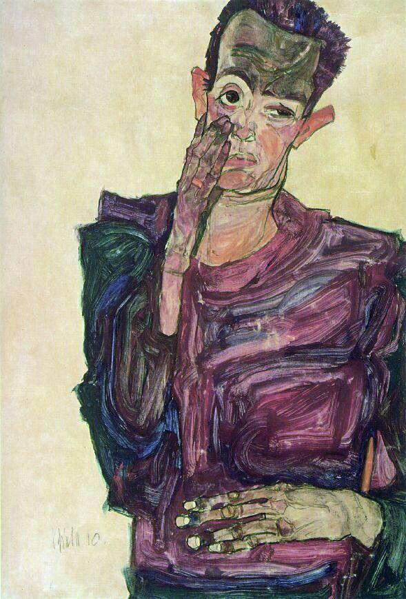 Egon Schiele  One of his many self-portraits.