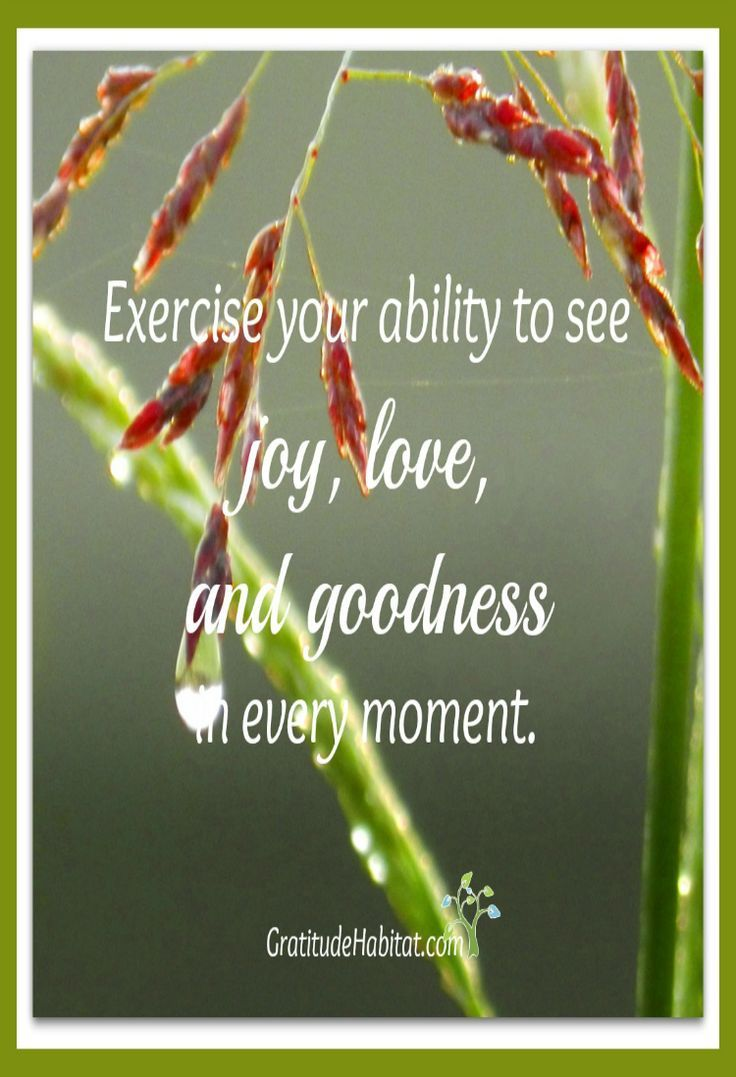 See joy, love, goodness.  Visit us at: www.GratitudeHabitat.com