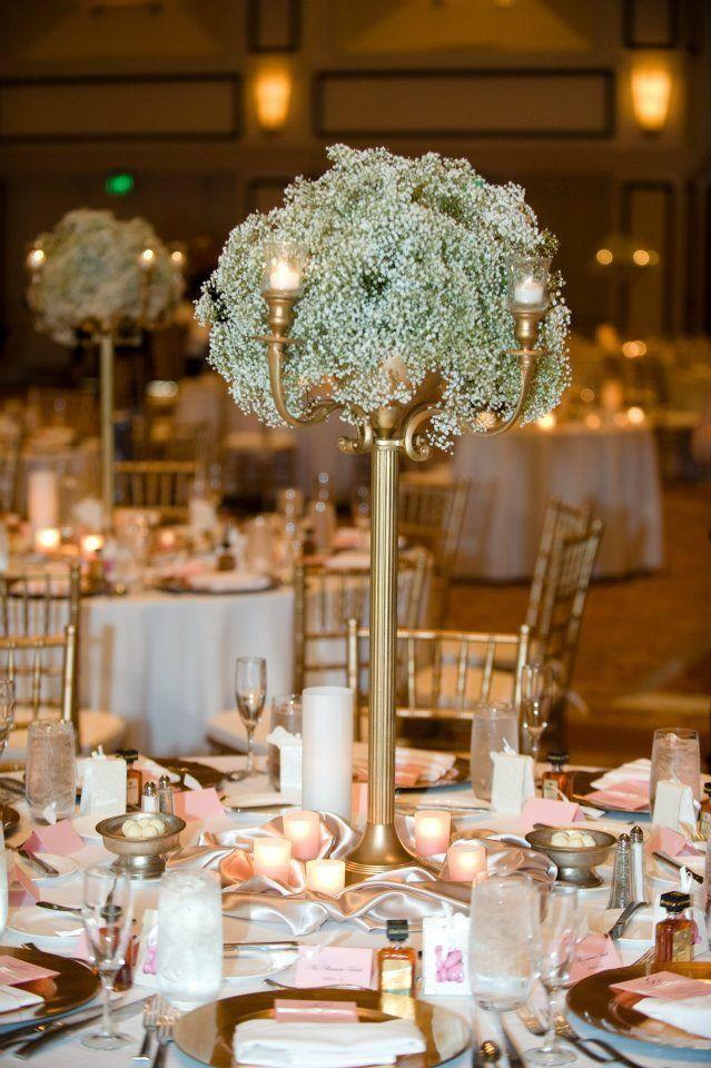 Wedding Centerpiece Babys Breath Arrangement On Gold Candleabra With Votive Candles