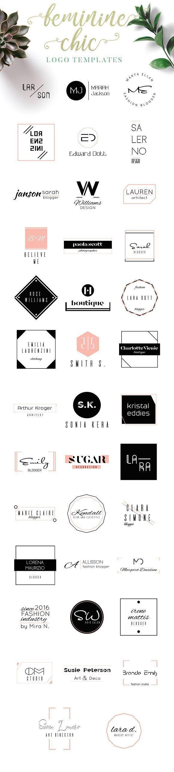 Feminine Chic Logo Templates   Komode, Visitenkarten und Impressionen