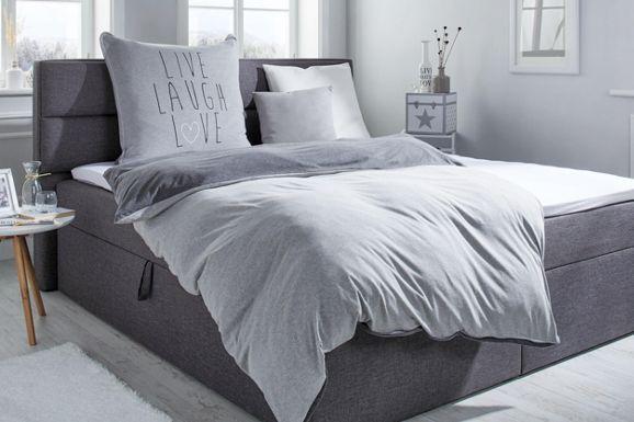 Schicke Bettwäsche mit Schriftzug in Grau - anschmiegsam und pflegeleicht