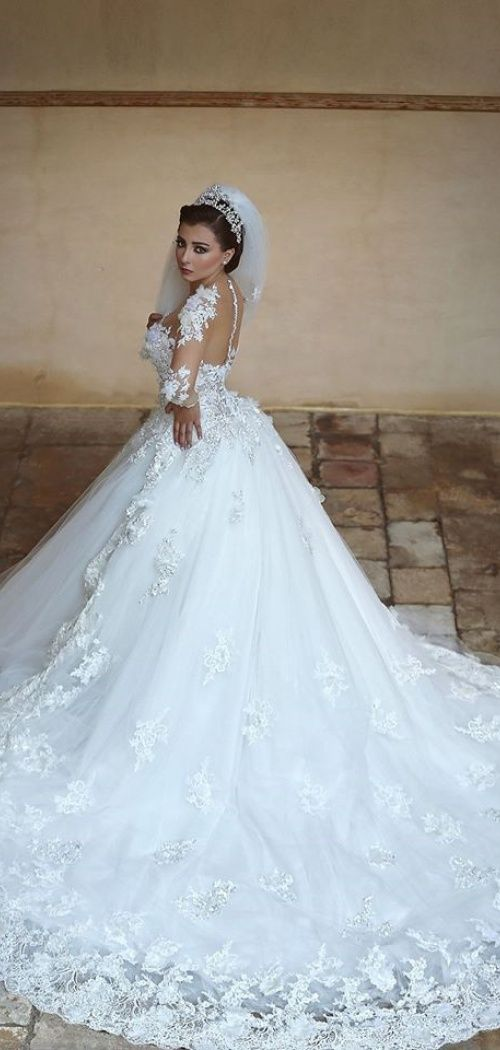 Long Sleeves Ball Gown Tulle Princess Jewel Cathedral Train Wedding ...