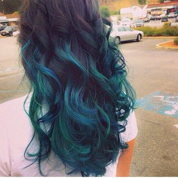 Black To Teal Green Blue Ombre Hair Color With Natural Waves