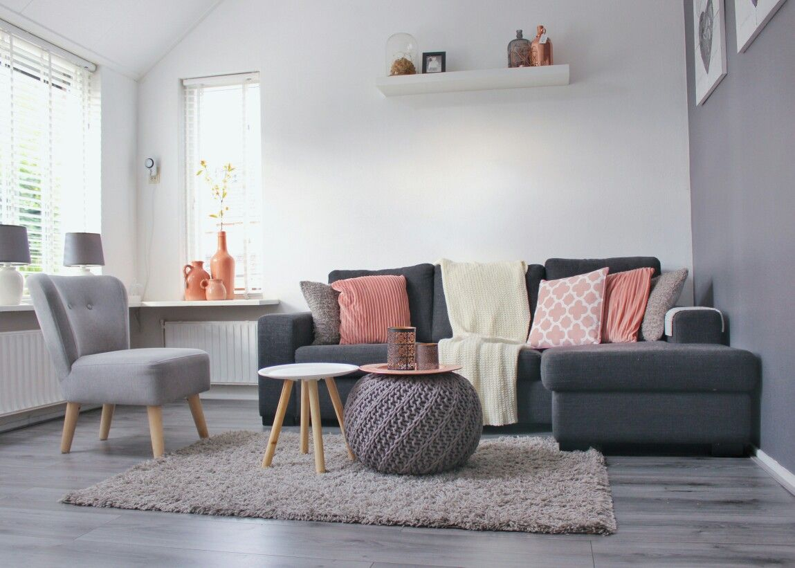 koper, roze, hout, decoratie, accessoires, woonkamer | woonkamer, Deco ideeën