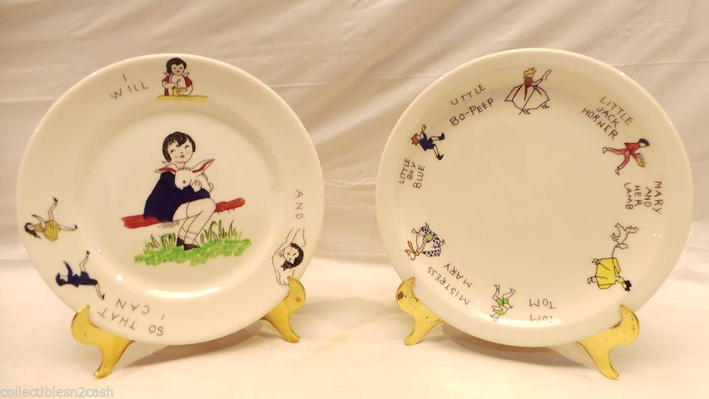Rare Syracuse China Co Hand Painted Diner Childs Plates USA #Syracuse
