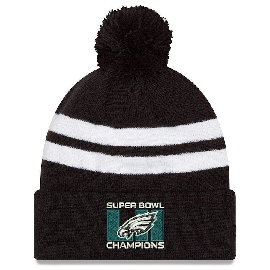 outlet store 67880 b1be5 Philadelphia Eagles New Era Super Bowl LII Champions Top Stripe Knit Hat –  Black