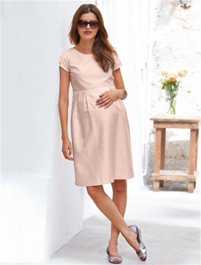 14cc86c9e Vestido de manga corta de embarazo ROSA CLARO LISO