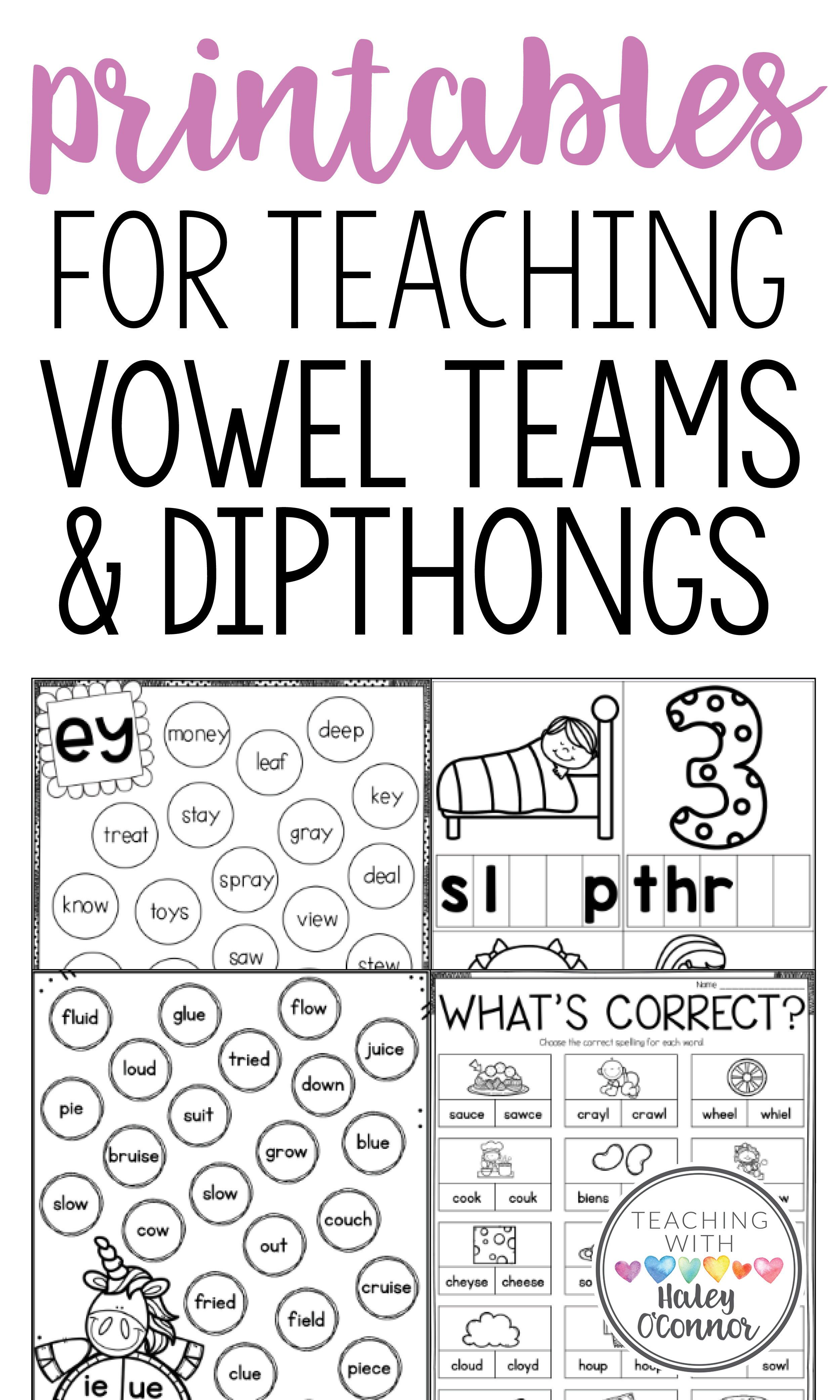 Vowel Teams And Diphthongs Printables Centers And Activities In 2020 Vowel Team Teaching Vowels Phonics Instruction