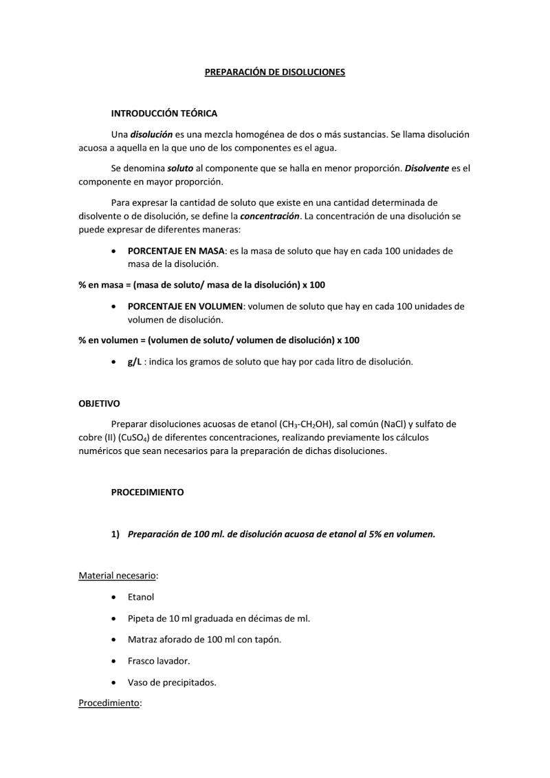 Ejercicios Preparación Disoluciones Pdf Algebra Pinterst Experiments