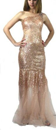 Jovani 4275 Rosegold Sheer Full Length Formal Evening Gown Prom