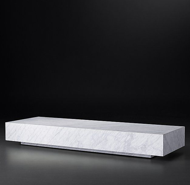 Rh Modern S Low Marble Plinth Rectangular Coffee Table