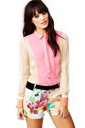 Candy Coated Chiffon Shirt - Two-toned Chiffon Shirt For Women http://www.loveitsomuch.com/