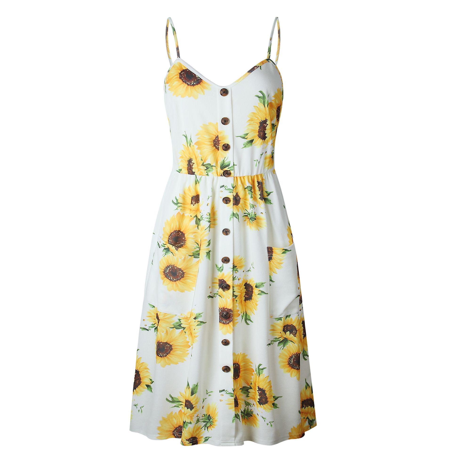 Sunflower Pineapple Floral Buttons Sleeveless Dress Summer Dresses Sleeveless Long Dress Midi Swing Dress [ 1920 x 1920 Pixel ]
