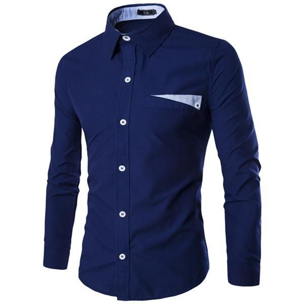 High Quality Long Sleeve Contrasting Color Slim Shirts For