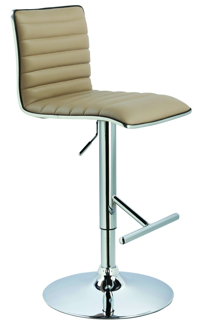 Sleek and contemporary design describes this stool. A hydraulic ...