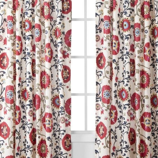 Panels, Use For Pillows And Use Leftover Material To Sew To Sheer Or Off  White Curtains    TARGET: Mudhut Suzani Vine Window Panel   Red