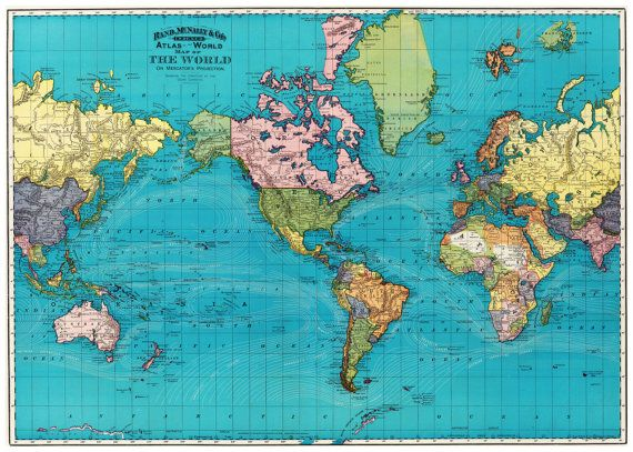 World Map With Currents.World Map Of The Ocean Currents Full Color 1893 20 X 30 Print