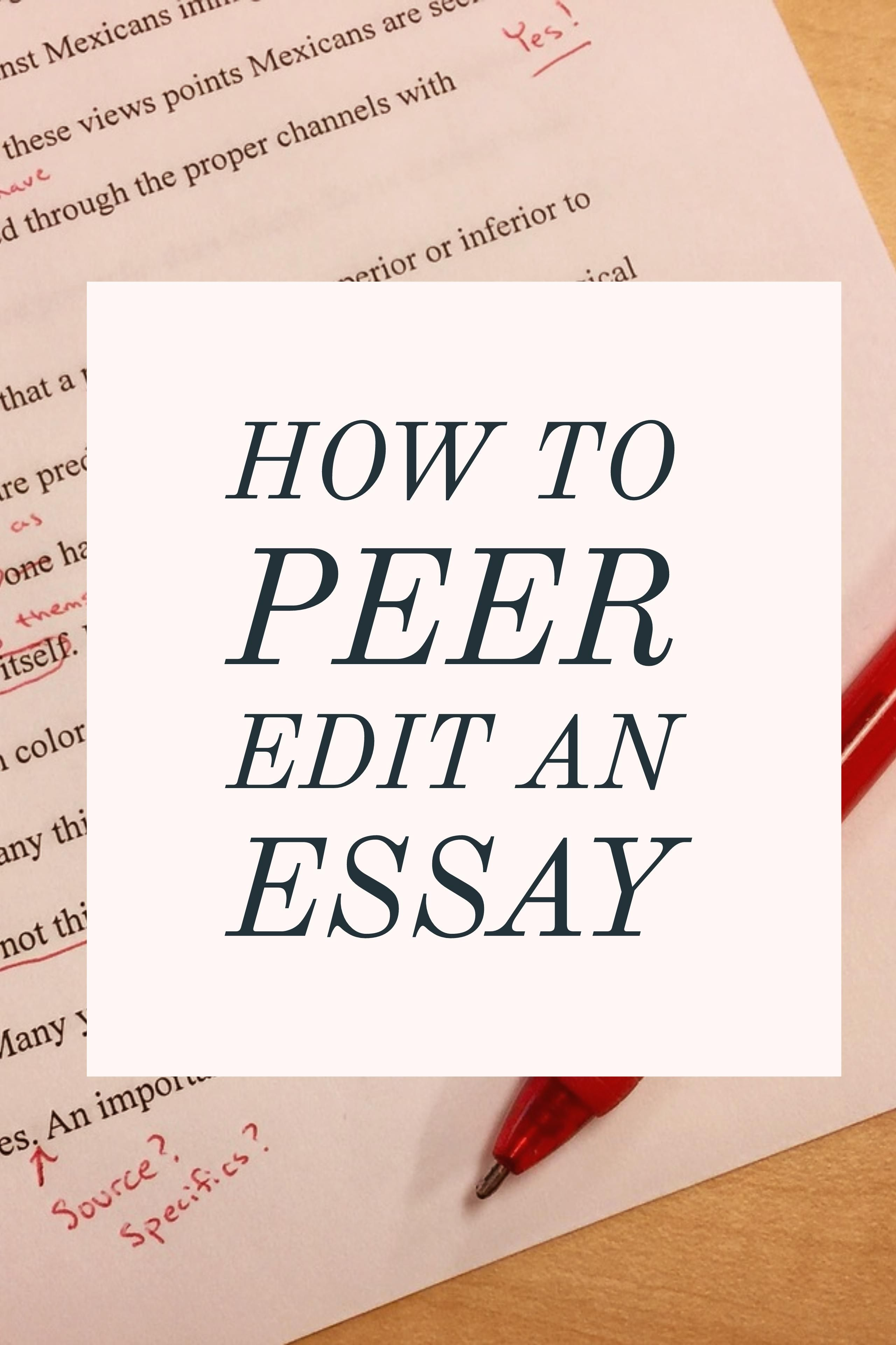 How To Peer Edit An Essay  Grammar Girl Tips  Pinterest  This Threestep Process For Peer Editing Will Take The Stress Out Of It For  Both The Writer And Editor Grammargirl Narrative Essays Examples For High School also Writing Essay Papers Healthy Lifestyle Essay