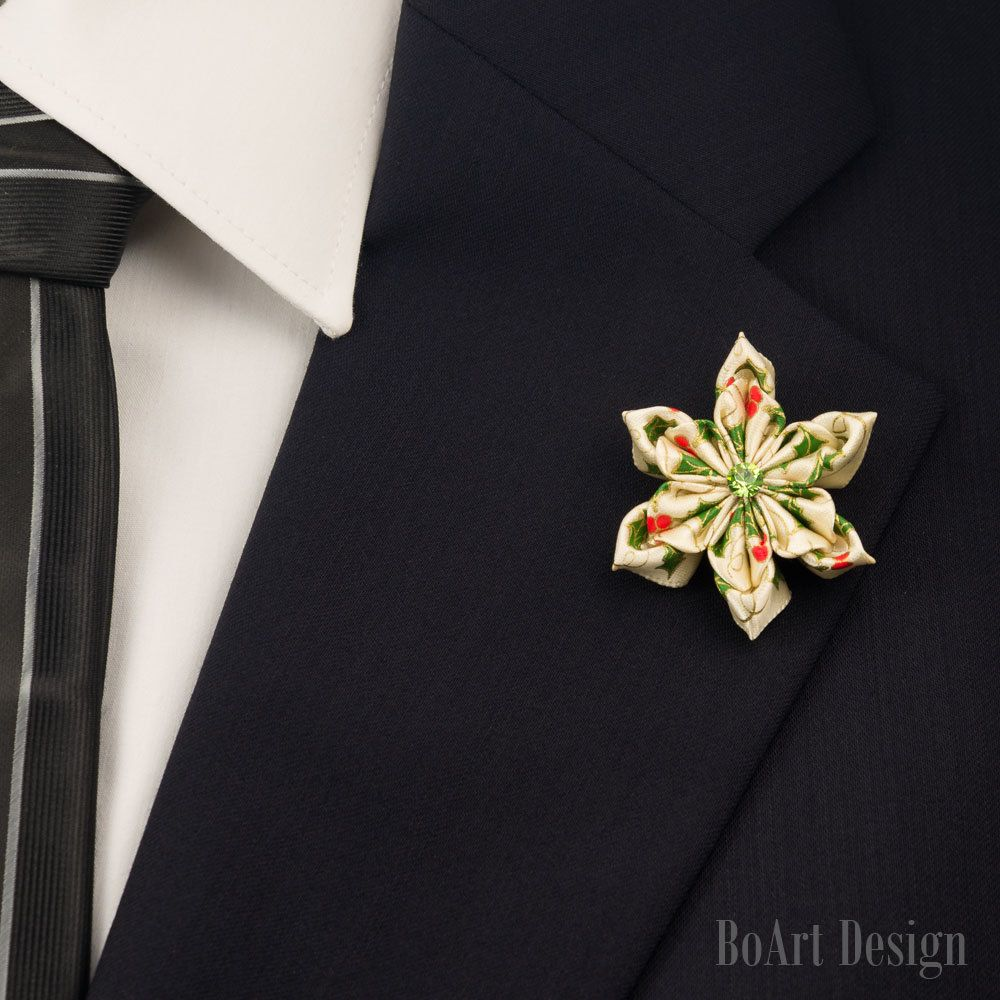 Lapel pinredgreenwhite kanzashi flower lapel pinswarovski lapel pinredgreenwhite kanzashi flower lapel pinswarovski peridot crystal dhlflorist Choice Image
